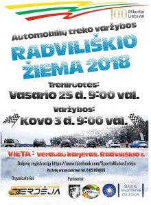 """Treniruotė: Automobilių treko varžybos """"Radviliškio žiema 2018"""""""