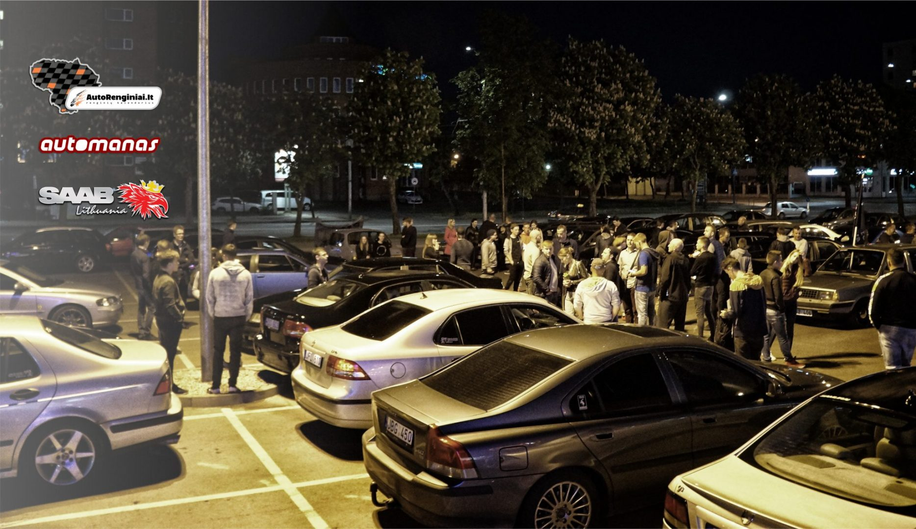 SAAB and VOLVO Night ride Kaunas