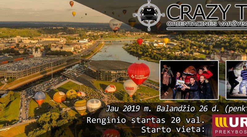 Orientacinės automobilių varžybos Kaune CRAZY TRIP 2019-04-26