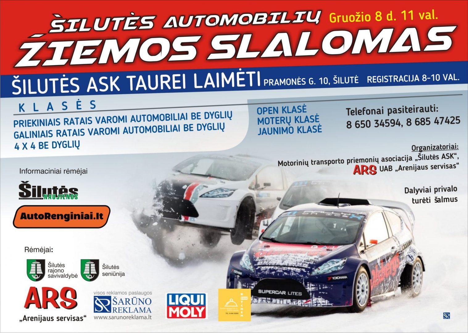 Šilutės automobilių žiemos slalomas Šilutės ASK taurei laimėti