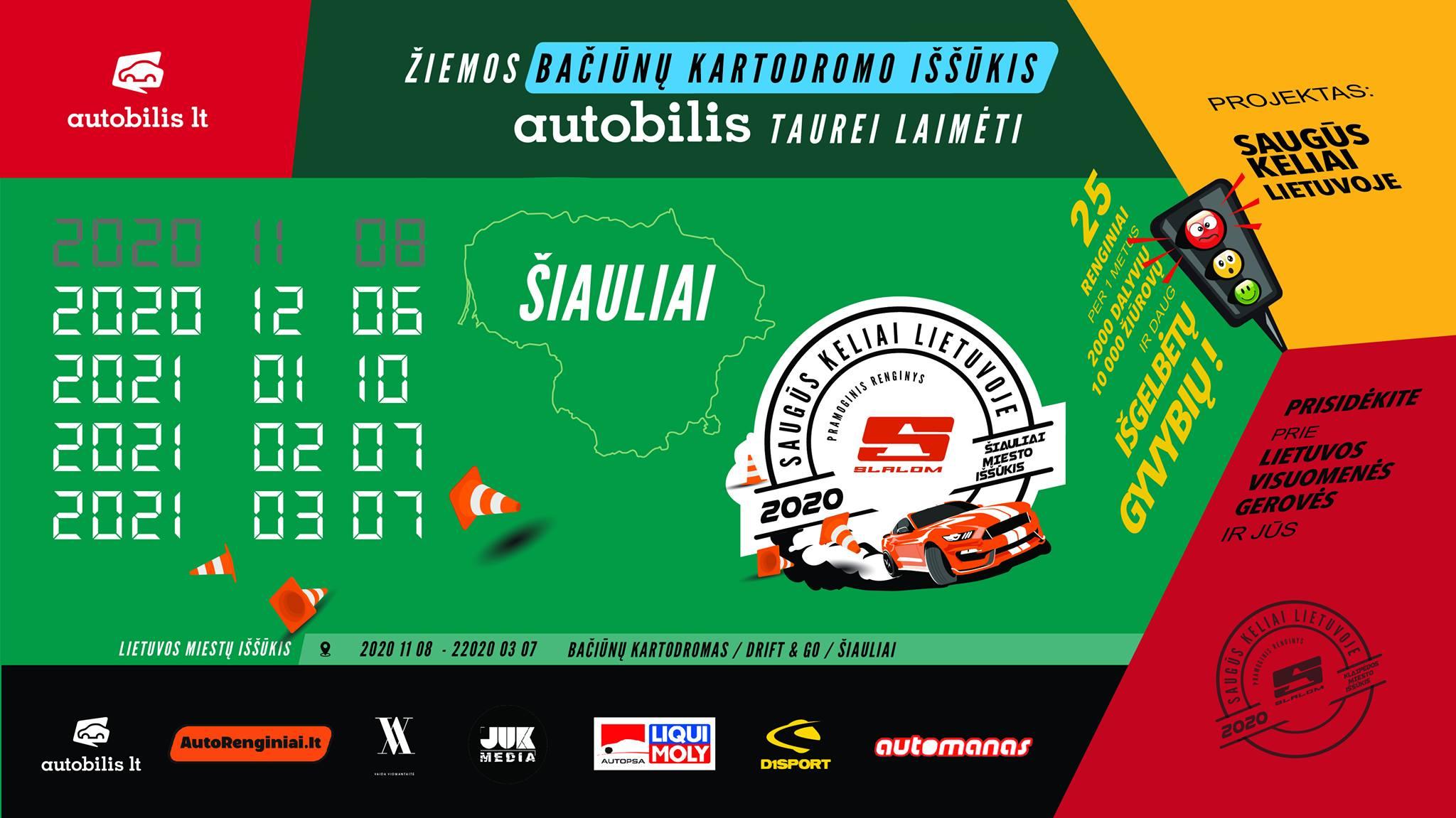 Žiemos Bačiūnų Kartodromo Iššūkiai Autobilis Taurei Laimėti 2 etapas