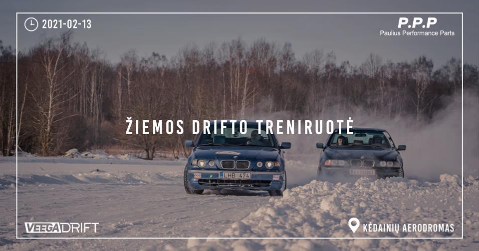 Žiemos drifto treniruotė Kėdainių aerodrome